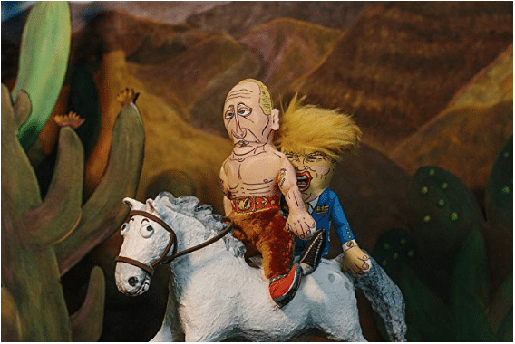 Putin & trump riding on a horse